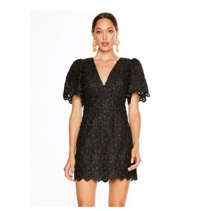 Talulah Limousine Black Embroidered 3D Lace Dress